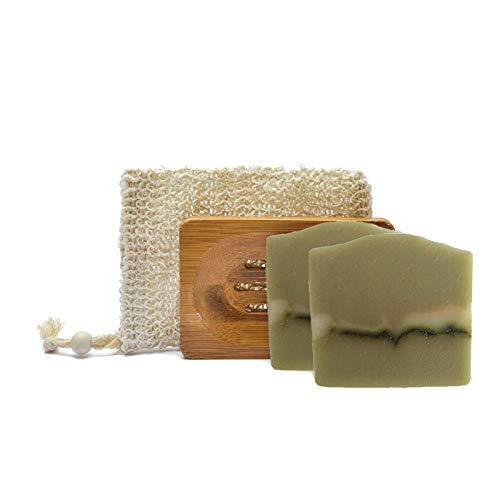 Mijo Ziegenmilch-Geranium Seife Naturkosmetik Geschenkset Beauty Pflegeset, 2 handgemachte rückfettende Naturseifen ohne Palmöl, Olivenölseife mit Sheabutter, Seifenzubehör Geschenk Badeset