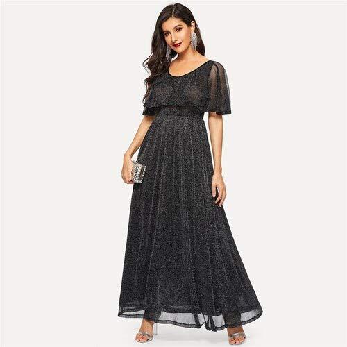 GMZA Black Summer Glamoureuze High Waist Flare Glitter Cape maxi-jurk vrouwen solide elegante A-lijn lange feestjurk met U-hals