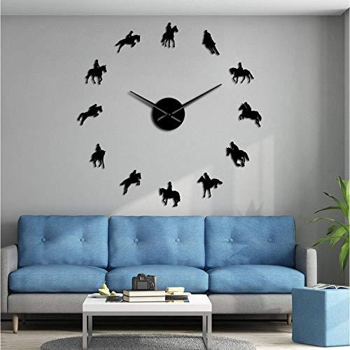 ZYZYY 37Inch Paardensport Diy Grote Wandklok Paardensport Decoratieve Paard Race Horloge Met Art Paard Rijden Spiegel Effect Arylic Stickers-Zwart