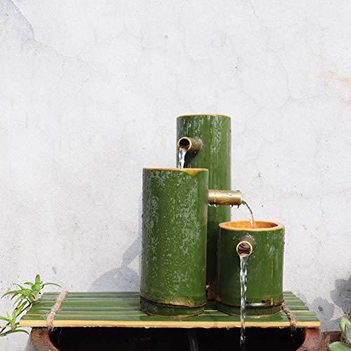 LXLH Decoración de jardín japonés, decoración de Arte de Patio, Fuente de Piedra para pecera, Adornos de decoración para el hogar, Fuente de jardín Interior al Aire Libre, Estatua de bambú con fu