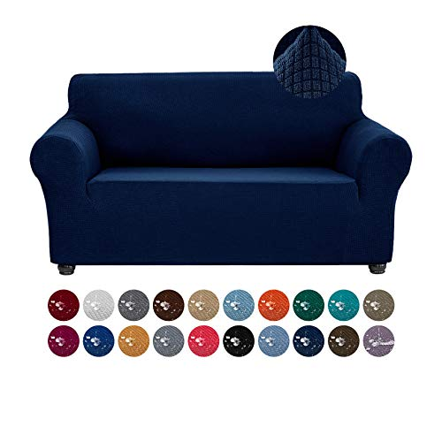 Joccun Stretch Loveseat Couch Cover Slipcover, 1-Piece Water Repellent Sofa Cover for 2 Cushion Couch Spandex Jacquard Washable Furniture Protector Cover for Living Room,Kids,Pets(Loveseat,Navy)