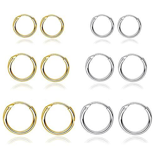6 Pairs Small Hoop Earrings Set Gold & Silver Stainless Steel Endless Earrings Hoops for Women Nickel Free 10MM 14MM 16MM