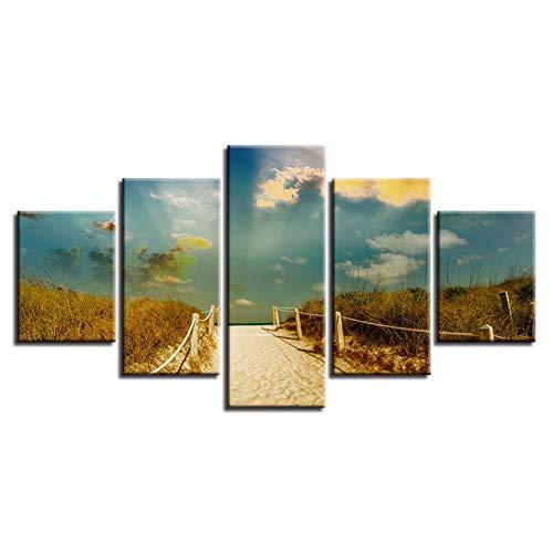 Modern modulaire afbeelding 5 stuks gras strand zonneschijn natuurlijk landschap canvas schilderij kunst gedrukt decor slaapkamer wandposter (geen lijst) 10x15 10x20 10x25cm