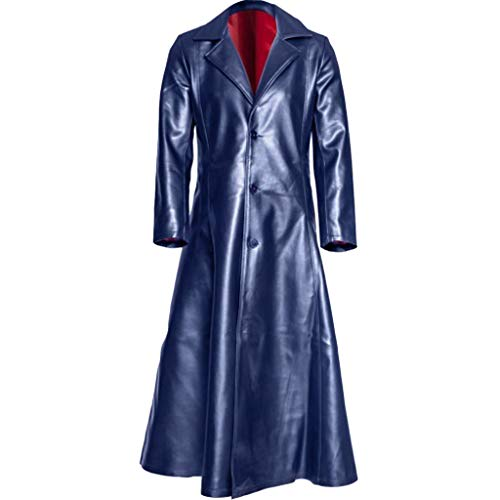 Mens Retro Leather Vintage Long Coat Trench Steampunk Gothic Jacket Overcoat (XL, Dark Blue)