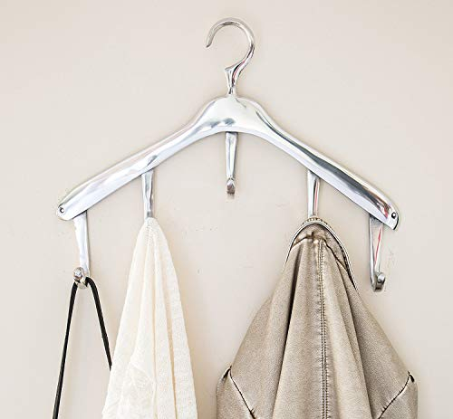 Modern Wall Mounted Hanger Coat Hooks by Comfify - Coat Hanger Shaped Style, Decorative Hand-Cast Aluminum Wall Coat Rack - Ultra-High Polish Finish - Easy to Install, Includes Screws and Anchors