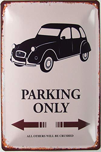 Blechschild 20x30cm gewölbt Ente 2CV Parking Only Deko Geschenk Schild