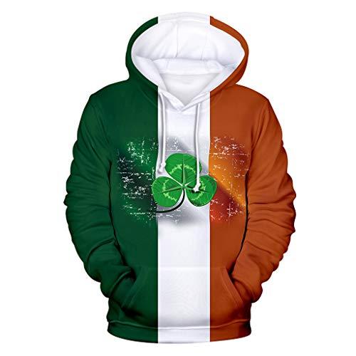 Cuteelf St. Patrick's Day Herren Hoodie - Unisex 3D Patchwork Klee und Magier Ugly Sweatshirt Sweater - Casual Fashion Sweatshirt Hässliche Pulli Lustig Oversize Damen Party