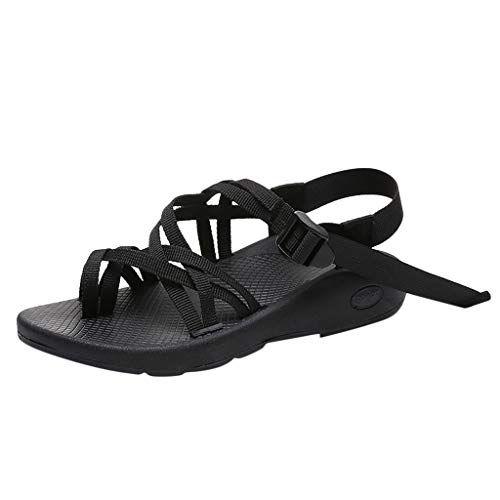 BOLUBILUY Women's Outdoor Sandals,Crossed Wires Multi Flat Bottom Ankle Strap Peeptoe Beach Shoes Hiking Sandals Black