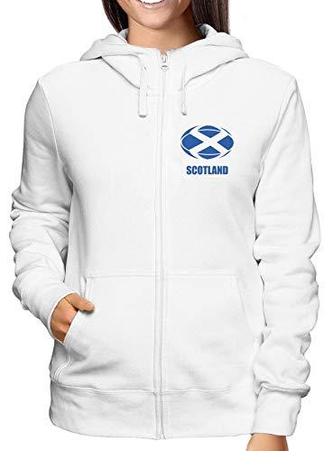 Sweatshirt Damen Hoodie Zip Weiss T0927 Scotland Rugby Calcio Ultras