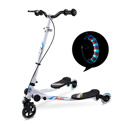 AODI 3 Wheel Foldable Scooter Swing Scooter Tri Slider Kick Wiggle Scooters Push Drifting with Adjustable Handle for Boys/Girl/Adult Age 8 Years Old and Up … (White)