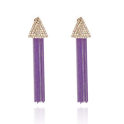 TXPFF Tassel Earrings Tassel Dangle Earrings Bohemian Fringe Drop Earrings for Women (purple)
