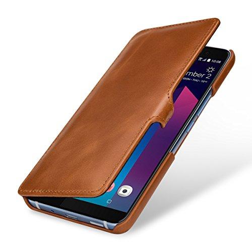StilGut Book Type Hülle, Hülle Leder-Tasche für HTC U11+ (U11 Plus). Seitlich klappbares Flip-Hülle aus Echtleder für das HTC U11+ (U11 Plus), Cognac mit Clip