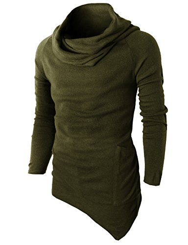 H2H Men's Shirts Casual Zipper Shirt Irregular Hem Pullovers OliveGreen US 2XL/Asia 3XL (KMTTL046)