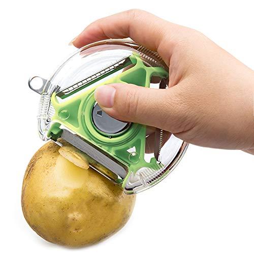 Rallador de tambor giratorio con 5 cuchillas y sin destrucción, con ventosa de seguridad en la base, adecuado para rallar, cortar o rallar patatas (mini)