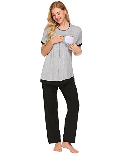 Ekouaer Womens Sexy Maternity Pajama Set Nursing Breastfeeding Nightwear Plus Size ,9793-light Gray,XX-Large