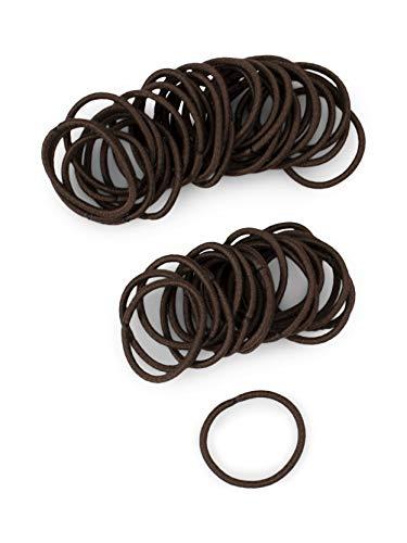 Heliums Small Dark Brown Brunette Hair Elastics, 2mm Mini 1 Inch Sized Hair Ties for Kids, Braids and Fine Hair - 48 Count (Dark Ash Brown)