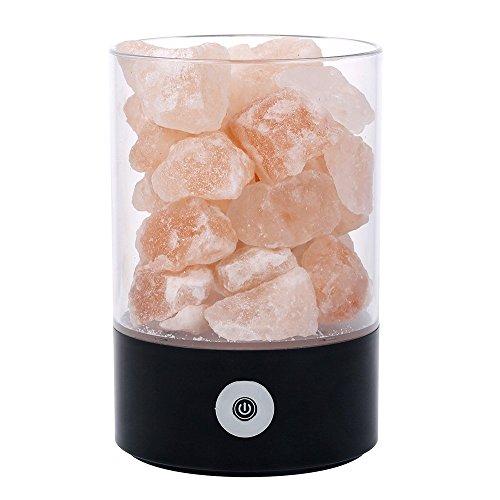 CUHAWUDBA USB Echt Himalaya Salz Kristall Lampe Gut für die Gesundheit Kleine Mineral Negative Ionen Stein Lavasalz Nachtlicht für Schlafzimmer BüRo (R-Schwarz)