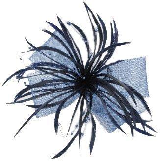 Noeud bleu marine en maille filet à cheveux Bibi avec plumes Split et Sprays de perles sur simple a à ressort pince crocodile Clip/épingle pour boutonnière Motif fleur Violet