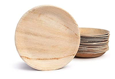 Bosnal - Palm Leaf Biodegradable Plates, 10 inch, Round, 25 pcs, Compostable, Bamboo and Wood Style, Stackable, Restaurant Grade, Earth Friendly, Alternative to Paper Plates