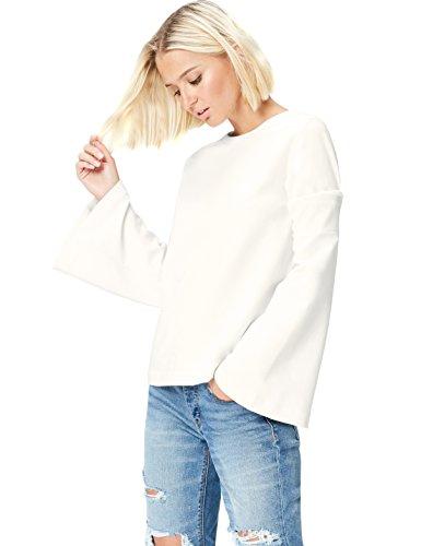 Amazon-Marke: find. Damen Langärmeliges T-Shirt mit rundem Ausschnitt, Elfenbein (Ivory), 34, Label: XS