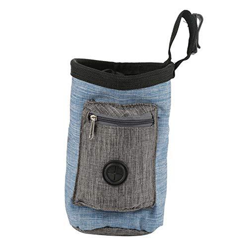 Futterbeutel für Hunde, Tragbare Oxford Dog Snack Tasche Hund Leckerli Beutel Multifunktionale Aufbewahrungstasche mit Poop Bag Dispenser für Tragende Hunde Snack und Spielzeug(Blau)