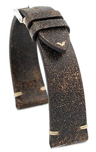 Rios1931 Sagittarius - Correa de reloj de piel de vacuno vintage, hecha a mano en Alemania, resistente, 20 mm, marrón