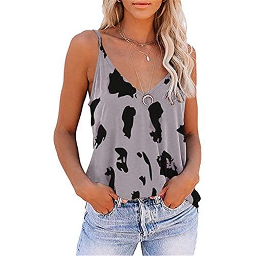 PRJN Camiseta básica de Manga Corta con Cuello en V para Mujer Top Casual Camiseta con Estampado de Leopardo para Mujer Camiseta básica con Cuello en V de Manga Larga Camiseta básica Suelta Jersey