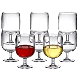Amazing Abby - Stacy - 12-Ounce Stackable Plastic Wine Glasses (Set of 8), Reusable Plastic Wine Glasses, BPA-Free and Shatter-Proof, Perfect for Poolside, Outdoors, Camping, and More
