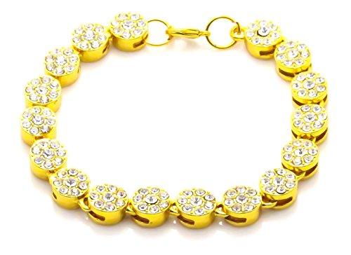 Kamellusone - Braccialetto rotondo in acciaio INOX placcato oro 14 K, 19 cm e Acciaio inossidabile, colore: Oro, cod. KLEzbbt540-Gold