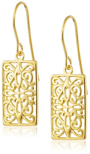 18k Yellow Gold Plated Sterling Silver Celtic Rectangle Drop Earrings