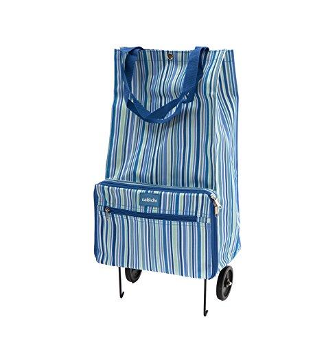 Sabichi Unisex-Adult Blue Stripe Foldable Shopping Bag Canvas and Beach Tote Bag Blue (Blue)