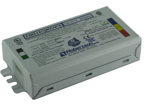 ROBERTSON 3P20145 Individual Fluorescent eBallast, 2 CFQ26W/G24q CFL Lamp, Program Start, 120-277Vac, 50-60Hz, Normal…