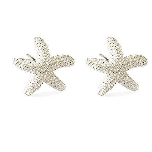 Huggie Starfish Stud Earrings for Women Teen Girls Kids S925 Sterling Silver 18K White Gold Plated Dainty Charm Tiny Small Star Sea Coral Starfish Earrings Post Pin Hypoallergenic Beach Jewelry Gift