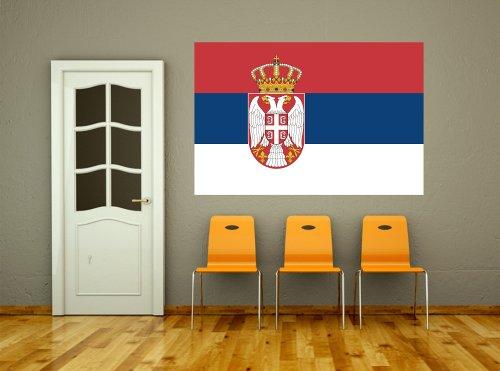 Kiwistar Wandtattoo Sticker Fahne Flagge Aufkleber Serbien 60 x 40cm