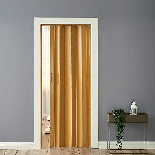 PVC Folding Accordion Door, Plastic Internal Magnetic Doors Sliding Concertina Screen Panel Divider Folding Concertina Door with Gloss Acrylic (6MM, Oak)