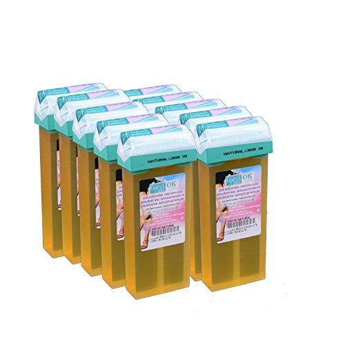 Depil OK Cartuchos de cera natural 10Set de relleno por 100ml para la depilación ligeros en el axilas, rango de cara, pierna y Íntima.