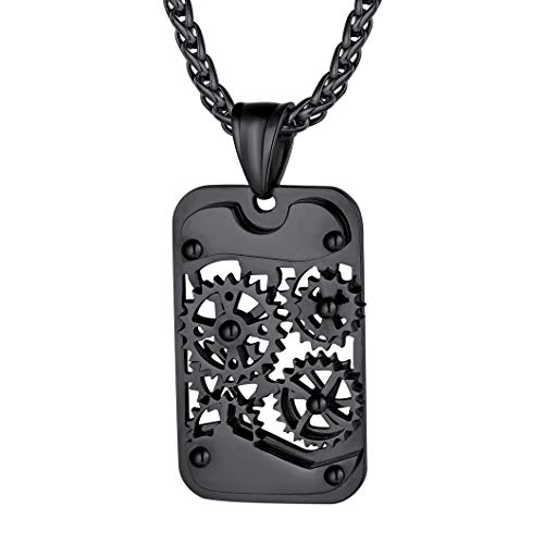 【❥Material】316L stainless steel, black plated, 3 times thicker than regular plated jewelry, stunning color. Nickel free. 【❥Design】Classic dog tag shape pendant necklace, with rotatable gear, steampunk and street style jewellery. 【❥Size】pendant: 20MM(...