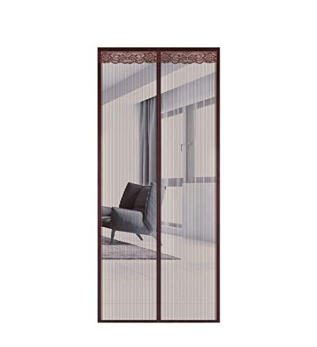 Muggennet Magnetisch voor deur - anti-muggen, klittenband, vislijn, mesh-magneetdeur met heavy duty 140 * 230cm bruin