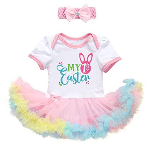 Disfraz de primera Pascua para recin nacido, con estampado de huevo de conejo, manga corta, vestido tut con diadema, disfraz de princesa, traje de tul para sesin de fotos de 0 a 18 meses