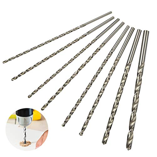 POKIENE 8Pcs Extra Long 200mm Twist Bits Kit, HSS High Speed Steel Drill Bit, Straight Shank with Diameter 4mm, 4.2mm, 4.5mm, 5mm, 5.2mm, 6mm, 8mm, 10mm, Wood Drilling Tool