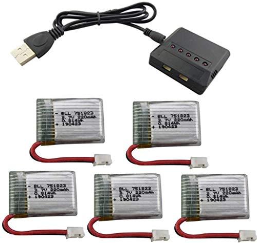 ZYGY 5piezas 3,7V 220mAh baterías de Litio y Cargador 5en1 para E010 GoolRC T36 NINHUI NH010 F36 JJRC H36 HS210 SANROCK GD65A ATOYX AT-66 RC Quadcopter Drone batería repuestos