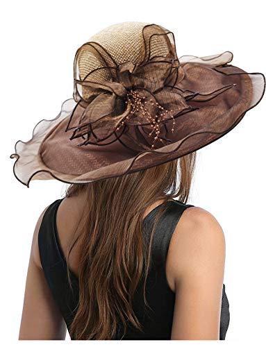 Carnavalife Sombrero de Sol Florales para Mujer, Gorro Nupcial para Vestido de Novia, Tocado de Iglesia Derby para Fiesta de Té, Talla única (Marrón)