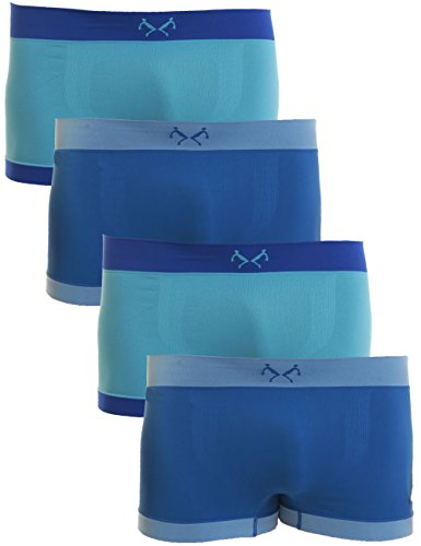 REMIXX Jungen Retroshorts 4er Pack Seamless Unterhosen Farbsets 182/188 Blautöne
