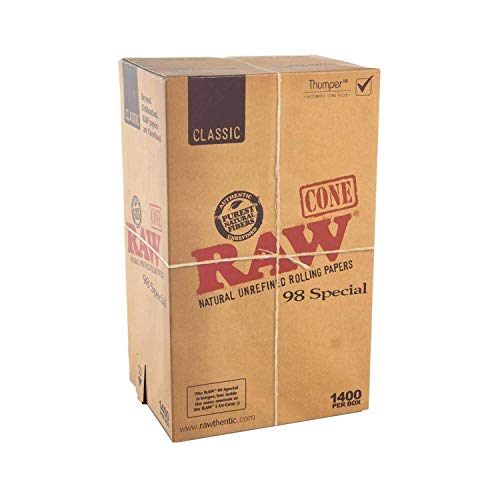 RAW 1400 Classic 98 Special Cones - Sturdy W Gallery Box - Pure Hemp 98mm Pre Rolled Cones - 20mm Filter Tips - Natural Brown Unbleached Unrefined Rolling Papers - Bulk Pack Bundle