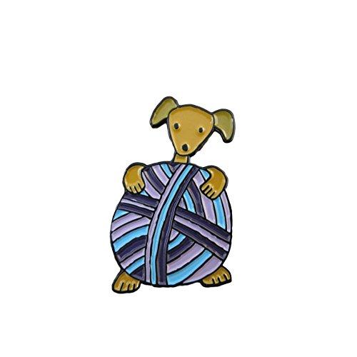 puppy holding yarn pin