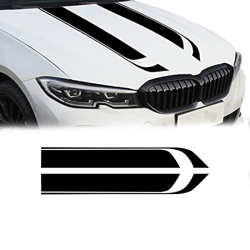 QianBao Car Hood Stripe Sticker Universal Auto Racing Body Vinyl Car Stickers Modified Stripe Decal Decoration for Car,33.4''6.4''Black