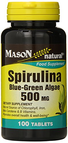 Mason Natural, Spirulina Blue-Green Algae, 500 Mg Tablets, 100-Count Bottles (Pack of 3), Spirulina Supplements Support Overall Health and Wellness, Contain Nutrients Often Missing in Vegetarian Diets