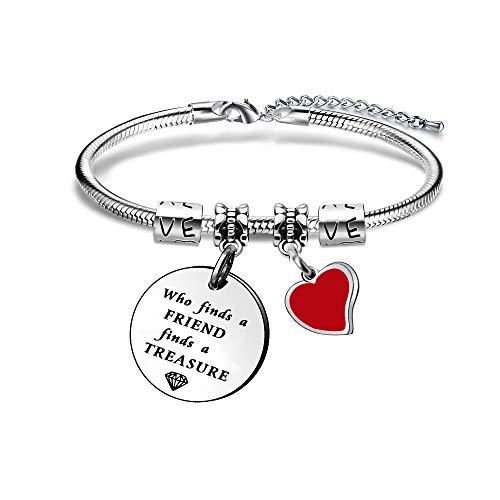 "Angelra Braccialetti Donna Bracciale Amici Regali di Amicizia""Who find a Friend, find a Treasure"" Ciondolo Argento con Incisione per Natale"