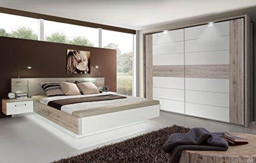Forte RDNL181B-T30 Rondino Sandeiche Nb. / Hochglanz Weiß Bettanlage Doppelbett Bett inkl. Fussbank inkl. Nachtkonsolen ca. 180 x 200 cm