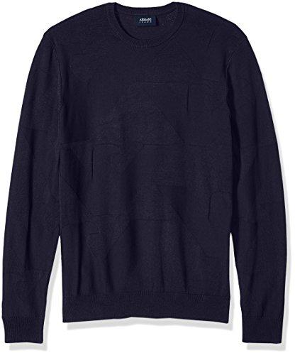 Armani Jeans Herren Pullover mit Adler-Logo, Übergröße - Blau - Groß
